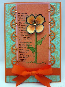 Bright Orange Lace Flower Card
