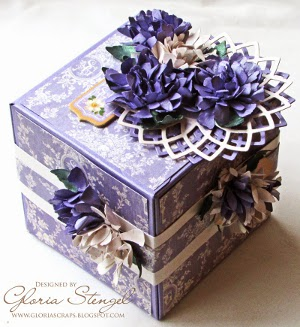 Lavendar Flowers and Flourishes Artist Trading Block