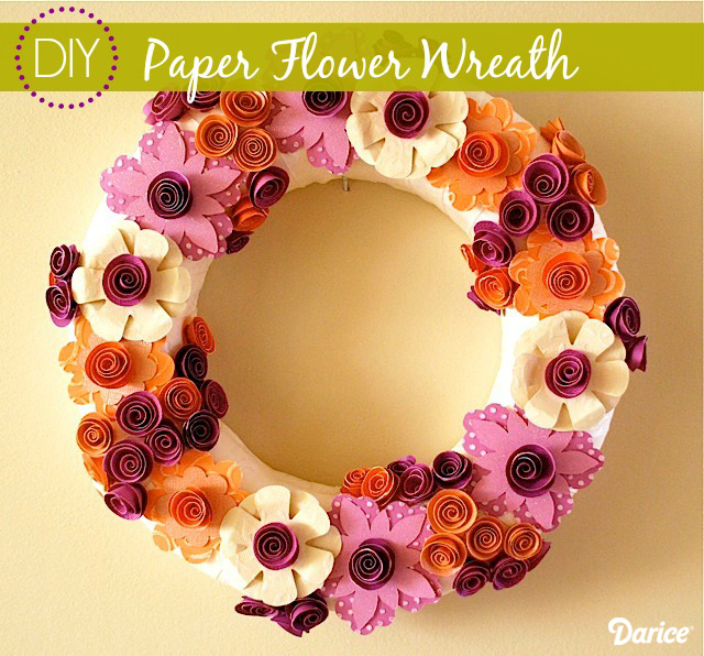 paper flower wreath The Giveaway to DIY For + Pretty Paper Flower Wreath